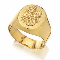 Anel Masculino Oval Ouro 18k Com Imagem São Jorge
