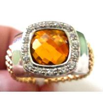 Promoção-aak-anel Prata 925 Citrino Zirconias-folheado Ouro