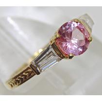 Rsp J3073 Anel Prata 925 A Ouro Safira Rosa... Sedex Grátis
