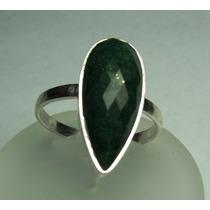 Anel Esmeralda Natural Lapidação Gota Em Prata 950