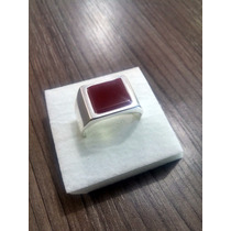 Anel Comendador Prata 925 - Pedra Cornalina Natural Vermelha