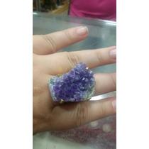 Anel De Drusa De Ametista Pedra Natural Proteção Folheado !!