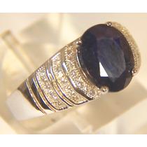 Rsp J4307 Anel Prata 925 Ródio Safira Azul Sedex Grátis