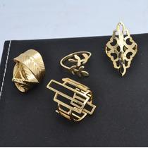Kit 4 Anéis Folheado Ouro 18k, Kit Semi Joias Luxo Rommanel