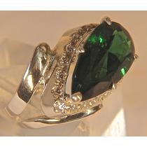 Rsp J3876 Anel Prata 925 A Ouro Esmeralda Colômbia Brilhante