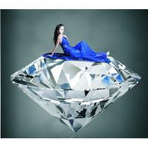 Anel Solitário Diamante Sintético Enorme Feminino Prata 925