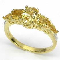 Anel Prata 925 E Ouro Amarelo 14k E Citrinos