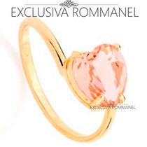 Rommanel Anel Liso Cristal 8mm Formato Coraçao Rosa 511598