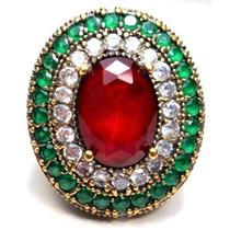 Hlr-anel Turquia Turco Prata Cristal Rubi Esmeralda Zirconia