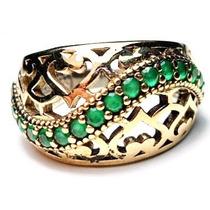 Gqc-anel Turquia Turco Prata 925 Esmeralda Frete 1,00