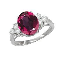 Anel De Prata Com Topázio Místico Vermelho Diamante 0,92 K