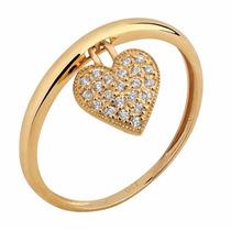 Anel Aro C/ Coração Pendurado Zircônias Brancas Em Ouro 18k