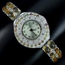 Citrino E Safira Branca Relógio Em Prata 925
