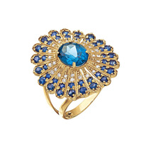 Anel Ouro 18k(750) Pedra Natural Diamante, Topázio London