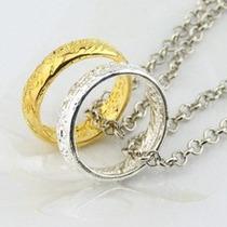 Senhor Dos Anéis Colar + Anél Banhado Ouro Ou Prata Escolha