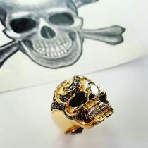 Anel Lord Luxury Caveira Ouro 18k E Diamante