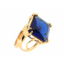 Anel Feminino Liso Regulável Carré Ouro 18k Várias Pedras