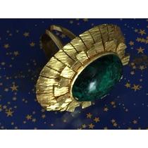 Anel Em Ouro 18k 750 Com Pedra Quartzo Verde