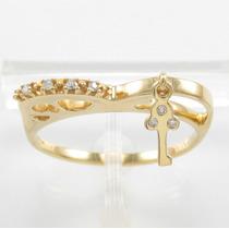 Esfinge Jóias - Anel Pingente Diamantes Aro15,5 Ouro 18k 750