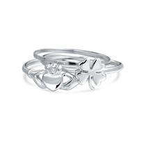 Bling Jewelry De Prata Trevo Irlandês Claddagh Midi Set Anel