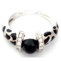 Diamantes Onix Lindo Anel Em Ouro Branco 18k 750!