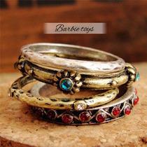 Lindo Conjunto 4 Anéis - Bronze - Fashion !!!