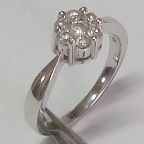 An25 Maravilhoso Anel Pave Em Ouro Branco 18k Com Diamantes