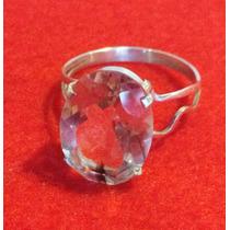 Anel Em Prata 950 Com Pedra De Quartzo Branco Transparente