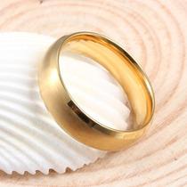 Anel Aliança Compromisso Aço Escovado Banhada A Ouro