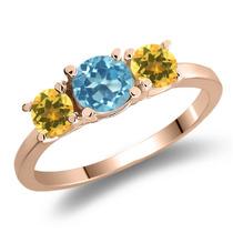 Anel Em Ouro Rosa Banhado A Prata Com Topázio Azul Suíço