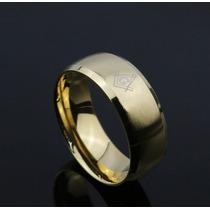 Anel Maçonaria Banhado Á Ouro 18k Aço Inox Maçom Dourado