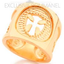 Rommanel Anel Masculino Folheado Ouro 18k Coroa Malta 511838