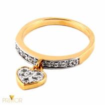 Anel De Ouro Com Pingente De Coração Cheio De Pedras An080