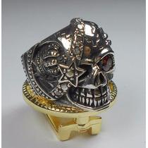 Anel Masculino Prata 925 Caveira Pirata Olho De Rubi Coroa