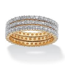 3 Pedaço Set Diamante Banda Em 18k Ouro Sobre Prata Em Tama