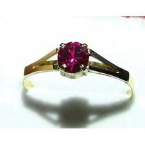 Solitário Ouro 18k Vermelho Rubi Lapidação Diamante 1.30 Gr