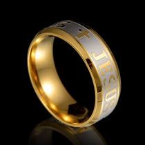 Par-anel Aliança Titanium Banhado Ouro 18k Filled Jesus