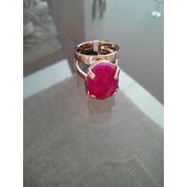 Anel Pedra Rosa Oval De 13x18mm Rommanel Folheado