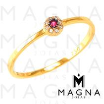 Magna - Anel Brilhante E Rubi Em Ouro18k +frete Gratis+caixa