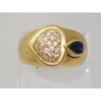 Boqueiraojoias Anel 21 Diamantes 1 Safira Azul Ouro 18k-750