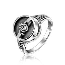 Bling Jewelry Sterling Claddagh Coração Locket Anel Veneno