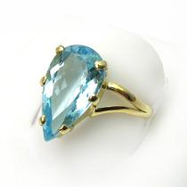 Lindo Anel Ouro 18k Maciço Com Topázio Azul Sky Blue Natural