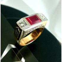 Anel Advogado Formatura Direito Rubi Diamantes Ouro 18k
