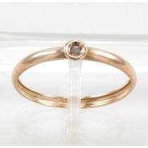 Esfinge Jóias- Anel Solitário Diamante Aro13,5 Ouro Rosê 18k
