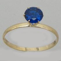 1209 Anel Solitário De Ouro 18k 750 Com Safira Azul Peso