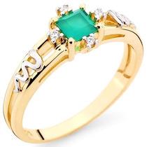 Anel Formatura Ouro 18, Esmeralda Natural Diamantes Medicina
