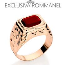 Rommanel Anel Masculino Retangular Preto Folhead Ouro 510709
