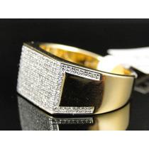 Anel Masculino Em Ouro 18k Com Duzentos Diamantes Rei