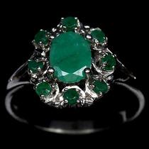 Anel Em Prata 925 Com Esmeraldas Naturais Belíssimo! Aro 21