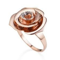 Anel Vivara Pétala De Ouro Rose Com Brilhantes!!!